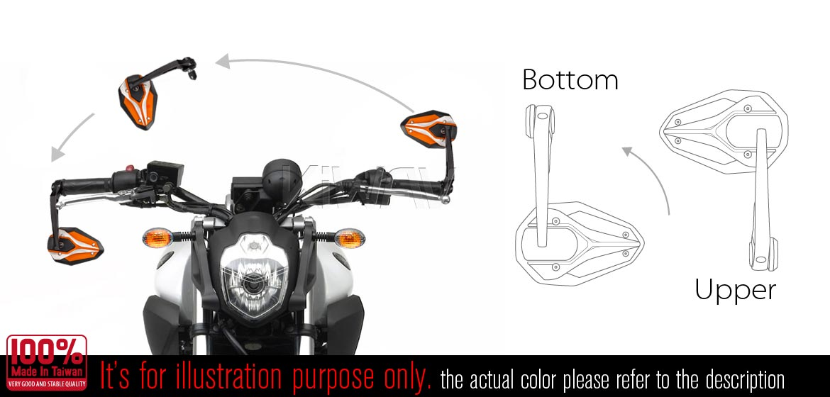 KiWAV motorcycle bar end mirrors ViperII orange for 7/8 inch and 1inch hollow end handlebars