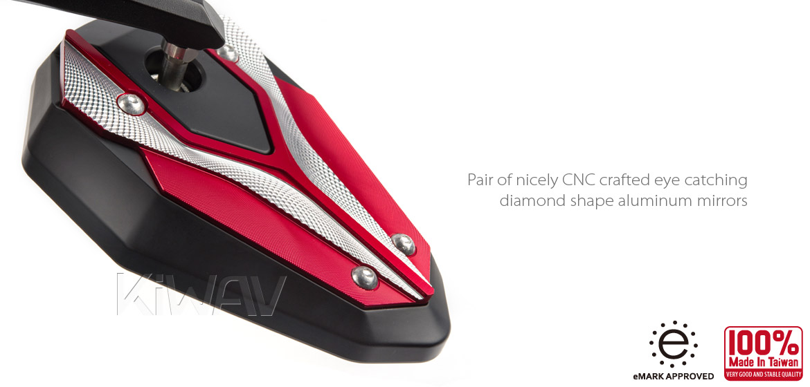 KiWAV motorcycle bar end mirrors ViperII red for M6 threaded
