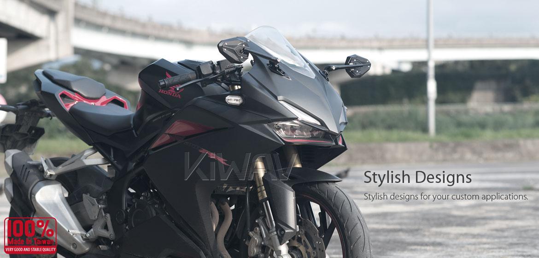 KiWAV motorcycle ViperII Black Sportsbike Mirrors With Black Base for sportsbike