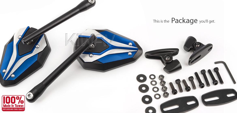 KiWAV motorcycle ViperII Blue Sportsbike Mirrors With Black Base for sportsbike
