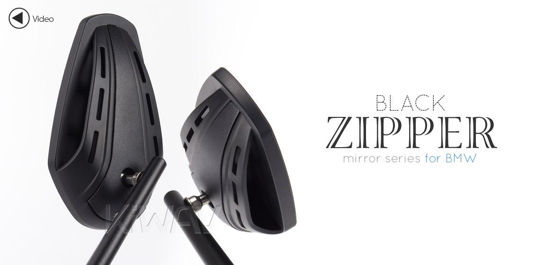 KiWAV Magazi Zipper motorcycle mirrors CNC aluminum BMW black