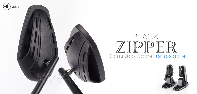 KiWAV Magazi Zipper motorcycle black mirrors CNC aluminum sportsbike with glossy black adapter