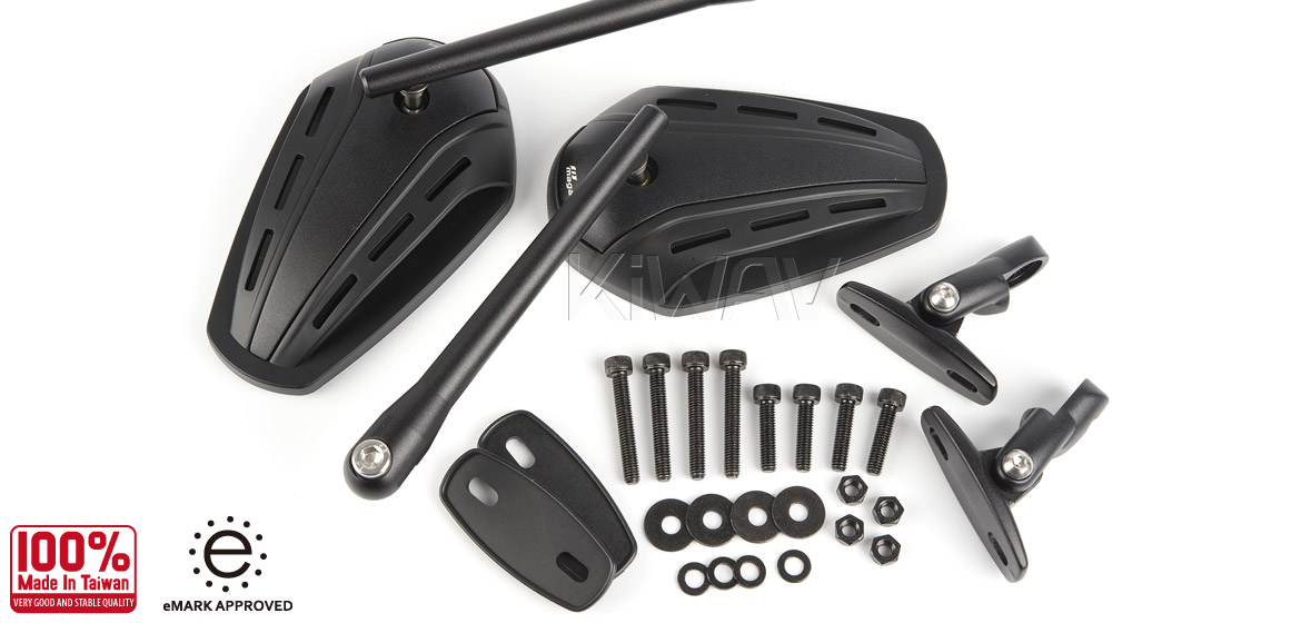 KiWAV Magazi Zipper motorcycle black mirrors CNC aluminum sportsbike with matt black adapter