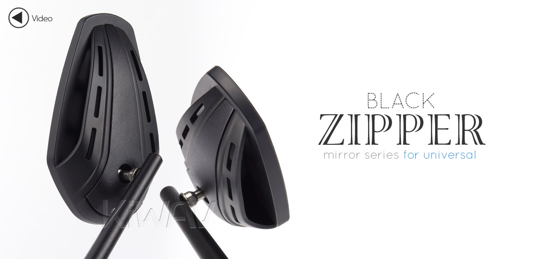 KiWAV Magazi Zipper motorcycle mirrors CNC aluminum universal black