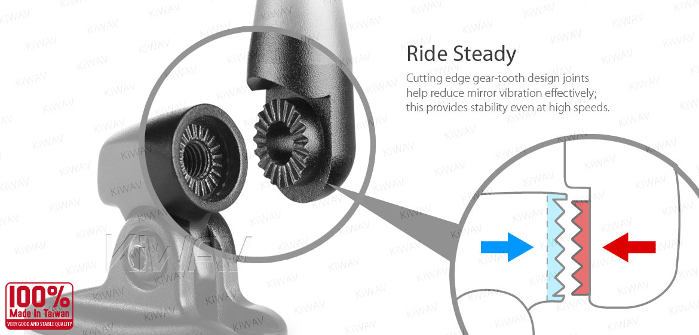 KiWAV motorcycle mirrors ZipperS3 black fairing mount w/ new ver. mat black adapter