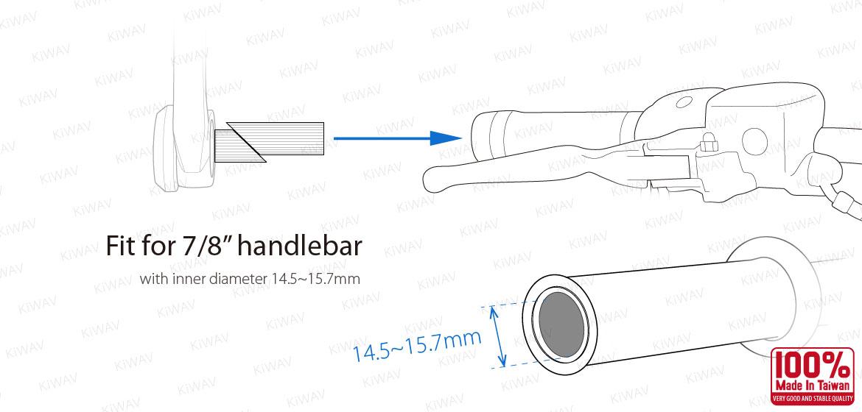 KiWAV bar end mirror mounting hardware for 7/8 inch handlebar with ID 14~17mm