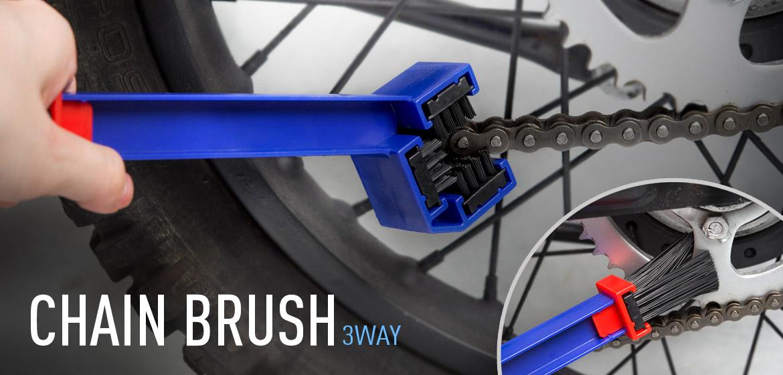 KiWAV motorcycle chain scrubber 3 way brush