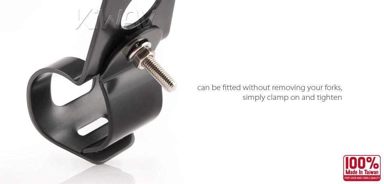 KiWAV Motorcycle head Lamp light bracket mount black 30~38mm fork clamp on