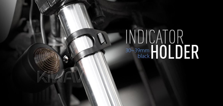 KiWAV Motorcycle Indicator turn signal Bracket Holder Fork Black 30~39mm