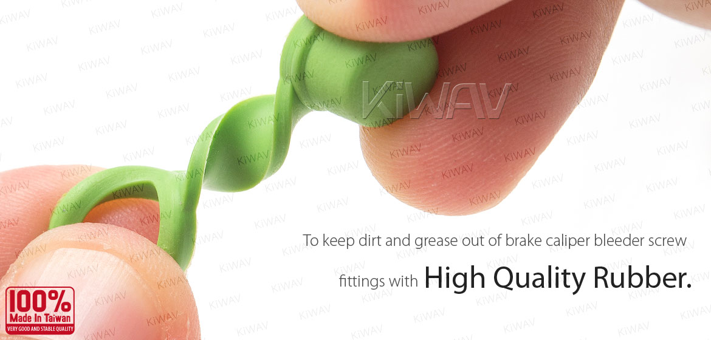 KiWAV motorcycle brake caliper bleeder rubber cap green