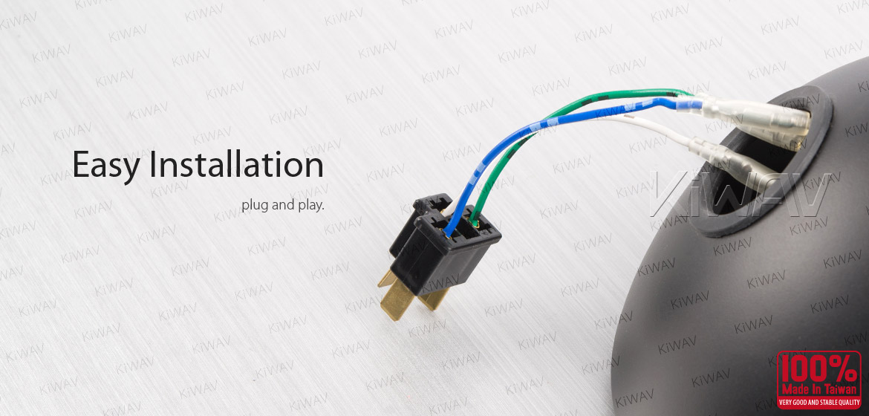 KiWAV male wire harness adapter plug for H4 / HB2 / 9003 / NOK9151 light socket