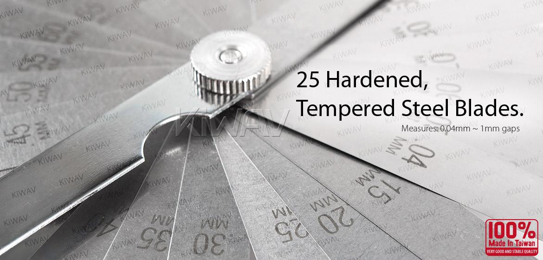 KiWAV 25 blades steel metric milimeter feeler gauge