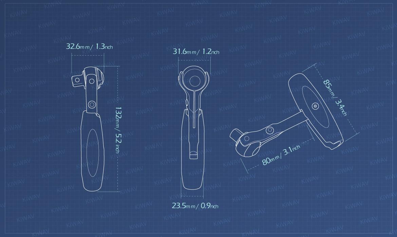 KiWAV Measurement graph of 2 way handle with 3/8 drive swivel ratchet head