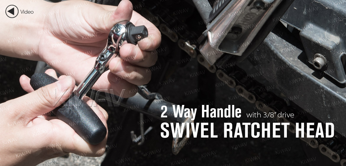 KiWAV 2 way handle with 3/8 drive swivel ratchet head