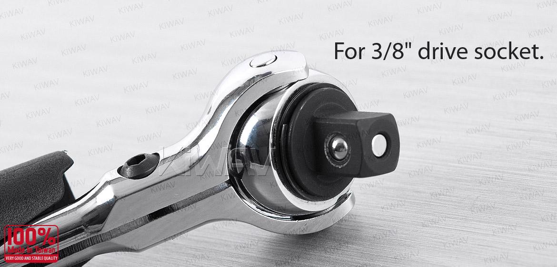 KiWAV 2 way handle with 3/8 drive swivel ratchet head