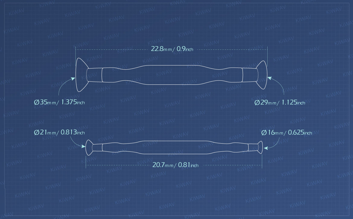KiWAV Measurement graph of 16, 21, 29, 35mm valve lapping tool set