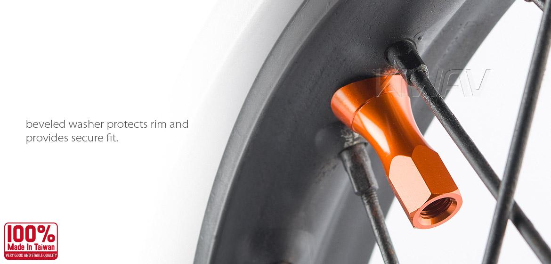 KiWAV Motorcycle Dirt Bike Rim Alloy Lock 2.15 inch with orange rim lock nut