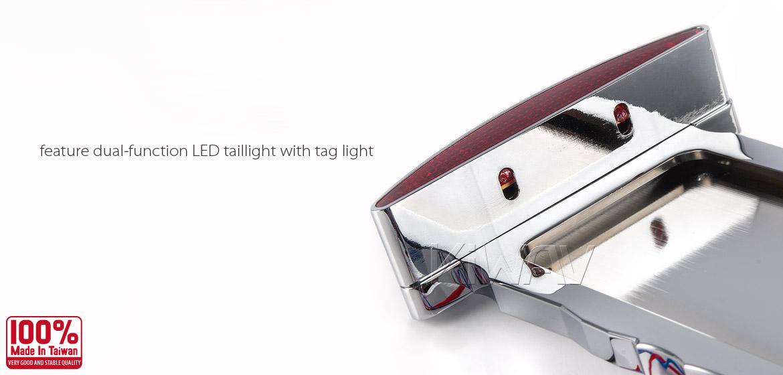 KiWAV Half Moon Swingarm Mount Side LED Taillight License Plate