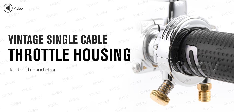 KiWAV Vintage single cable throttle housing for 1 inch handlebar chrome