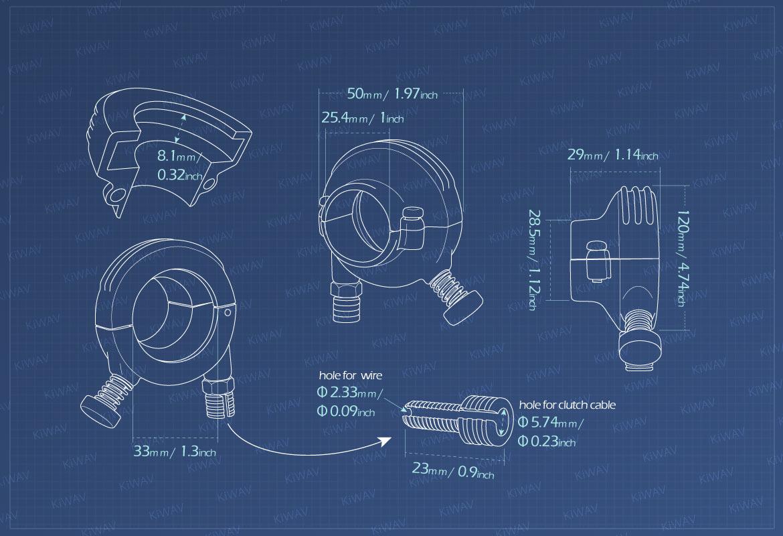 KiWAV Measurement graph of Vintage single cable throttle housing for 1 inch handlebar