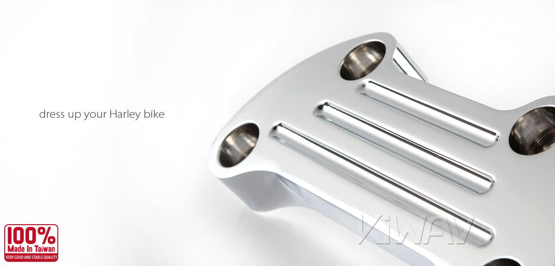 KiWAV Aluminum Finned Top Upper Custom Clamp for Harley Bike 1 inch Handlebar chrome