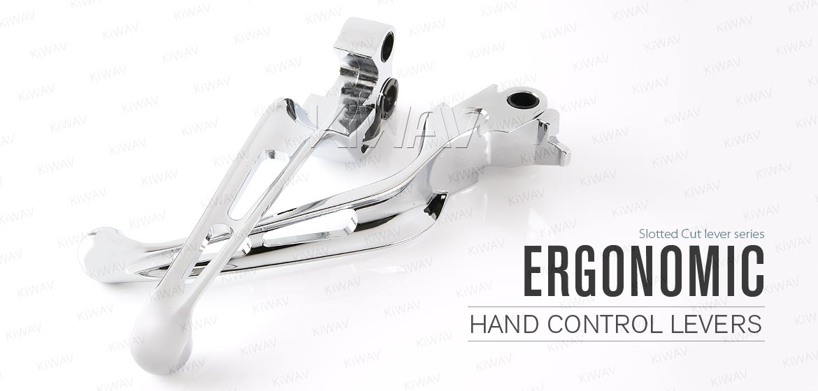 KiWAV Slotted 2color hand control levers chrome for Harley 96-03 XL 96-later Dyna 96-14 Softail 96-07 Touring