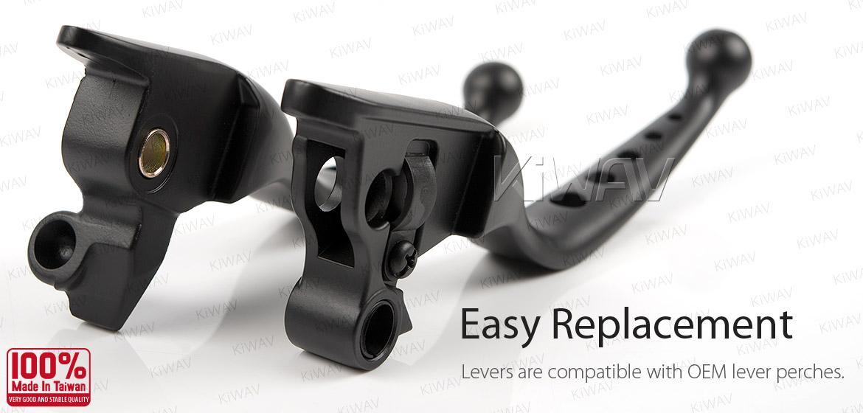 KiWAV hydraulic brake and cable clutch hand control levers edgecut cut 5 black harley davidson '08-'13 Touring & Trike models