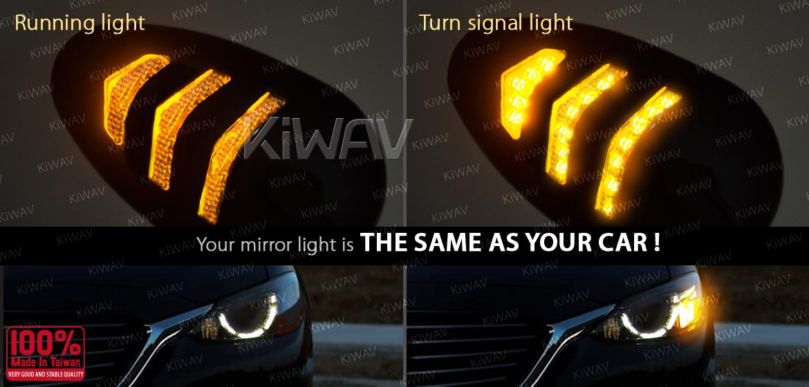 KiWAV Arrow LED black motorcycle mirrors fit harley davidson