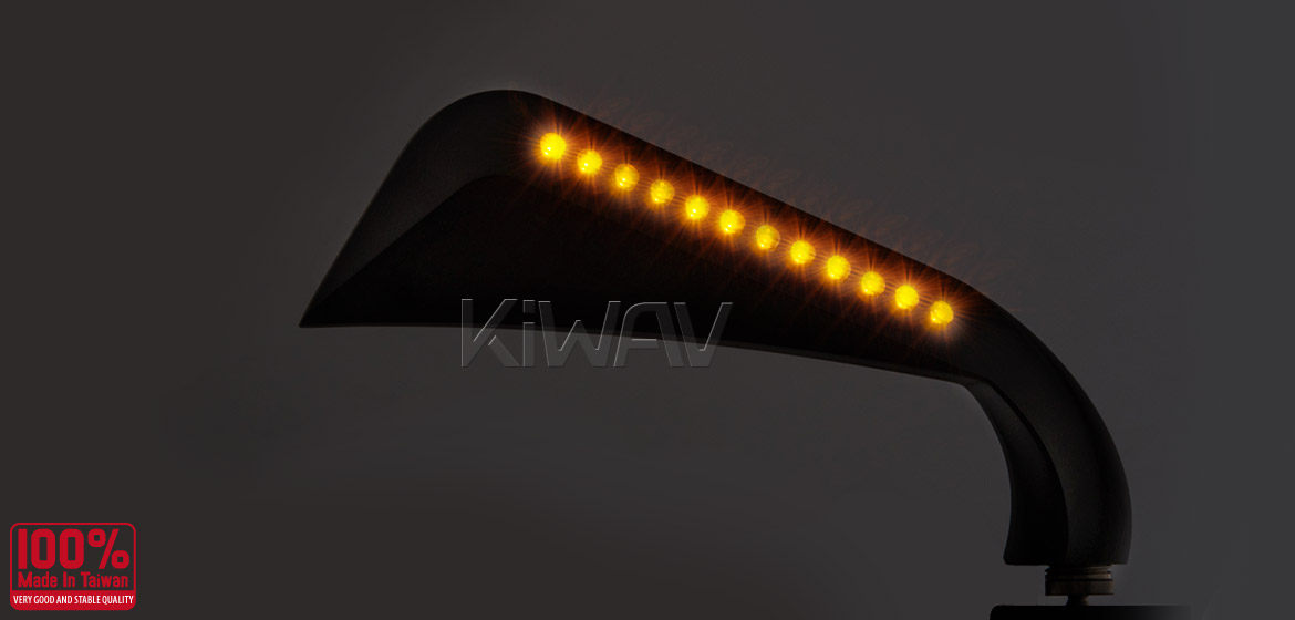 KiWAV motorcycle mirrors AxeLED black