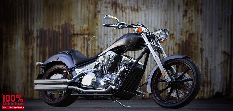 KiWAV motorcycle mirrors AxeLED chrome 10mm universal