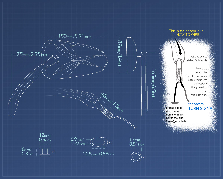 Measurement of KiWAV motorcycle LED mirrors Blinker for Harley Davidson