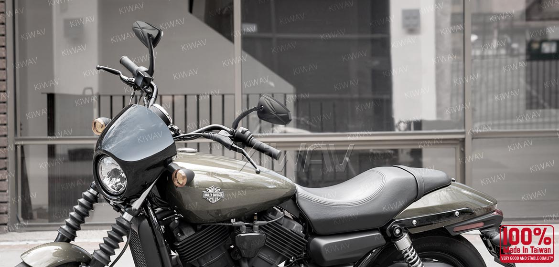 KiWAV Blinker LED black motorcycle mirrors fit harley davidson