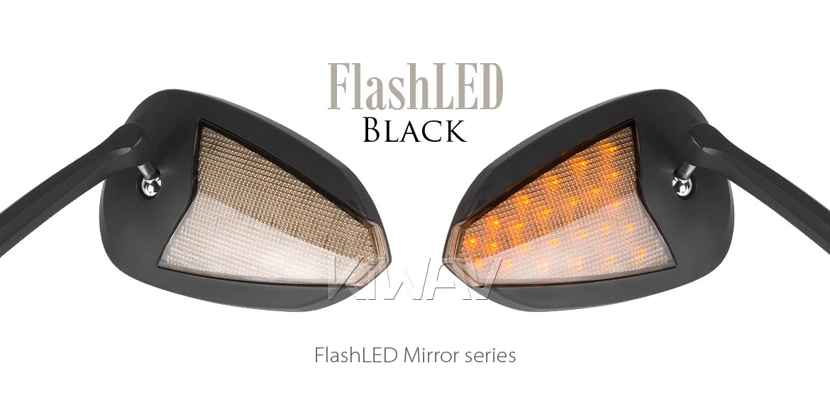 KiWAV Flash LED black motorcycle mirrors fit harley davidson