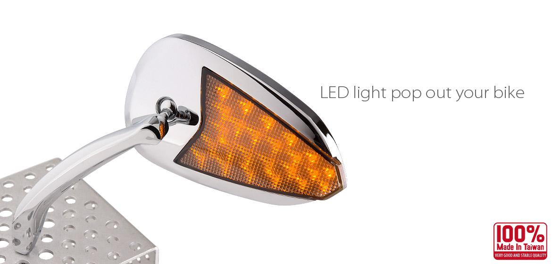 KiWAV Flash LED chrome motorcycle mirrors fit harley davidson