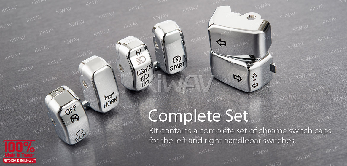 KiWAV switch caps chrome 6 pcs chrome for harley davidson 96up XL,XR Dyna FLHR