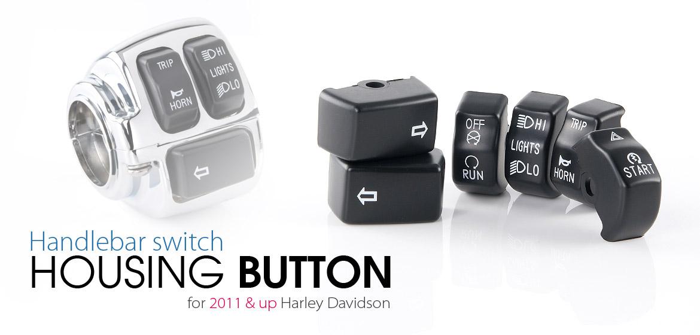 KiWAV - Handlebar switch housing button for Harley Davidson black