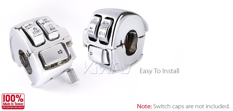 chrome switch housing kit 0026 for Harley OEM#70222-96B /'96-later VRSC /&more ε