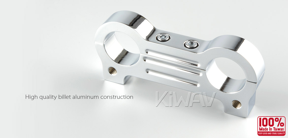 KiWAV billet aluminum chrome Gauge Mount Adapter for Harley Davidson T-bar Handlebar 1 1/2 inch