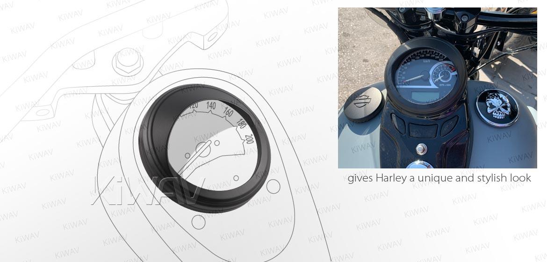 KiWAV Speedometer Trim Ring Visor cover aluminum black plated for 4 1/2