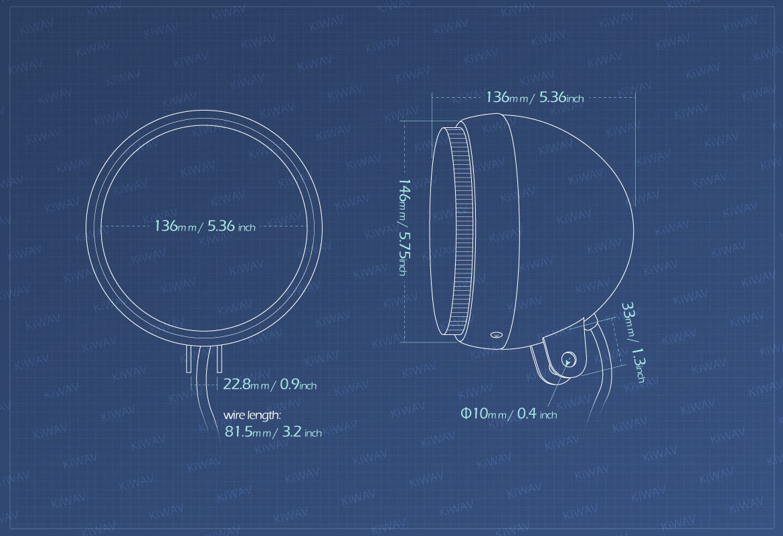 Measurement of KiWAV 5-3/4 inch HB5 65/55W SAE motorcycle headlight black bottom mount