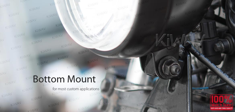 KiWAV 5-3/4 inch HB5 65/55W SAE motorcycle headlight black bottom mount