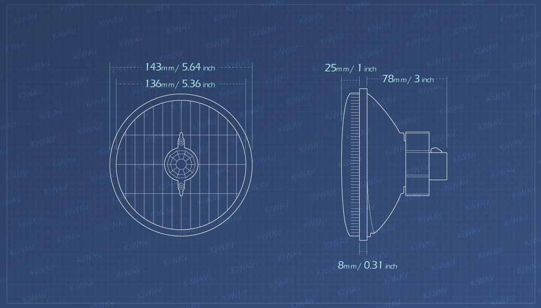 Measurement of KiWAV 5-3/4 inch HB5 65/55W SAE headlight lens unit