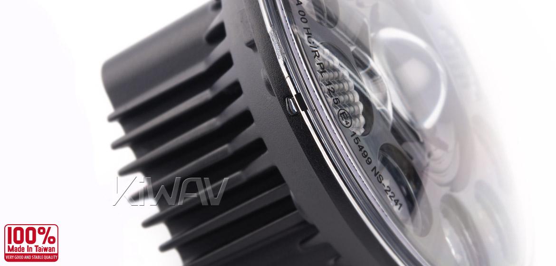 KiWAV car headlamp 7 inch black reflector