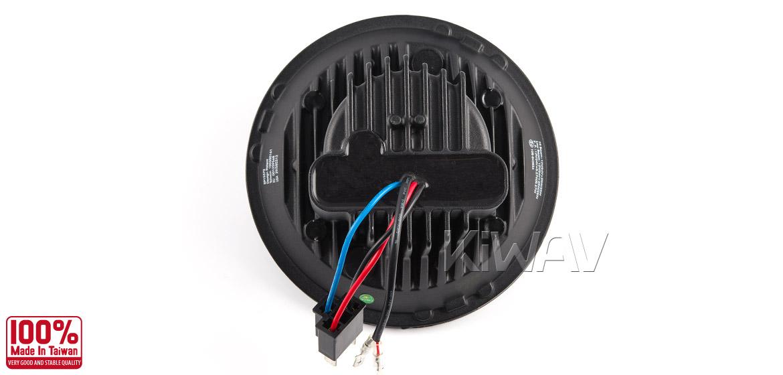 KiWAV car 7 inch headlamp black reflector