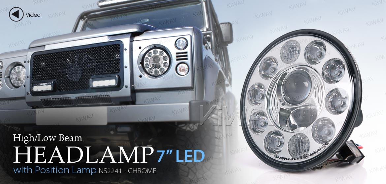 KiWAV car 7 inch headlamp chrome reflector