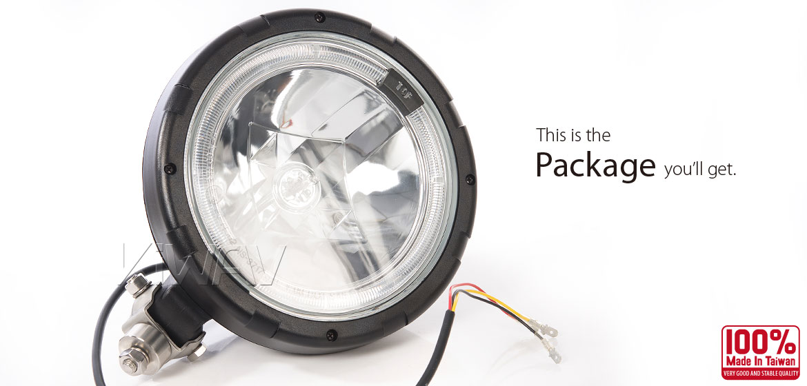 KiWAV NS-3717 9 inch driving light with LED ring halo position light
