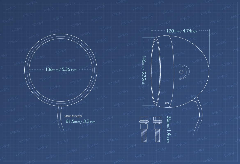 Measurement of KiWAV 5-3/4 inch side mount motorcycle headlight bucket