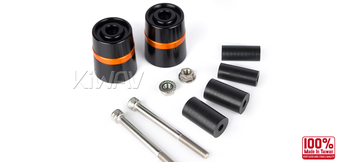 Magazi motorcycle orange CNC aluminum bar ends rubber mount two-tone color style universal-06