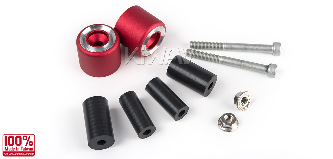 Magazi motorcycle red CNC aluminum bar ends rubber mount universal fit 7/8inch 1inch handlebar-06