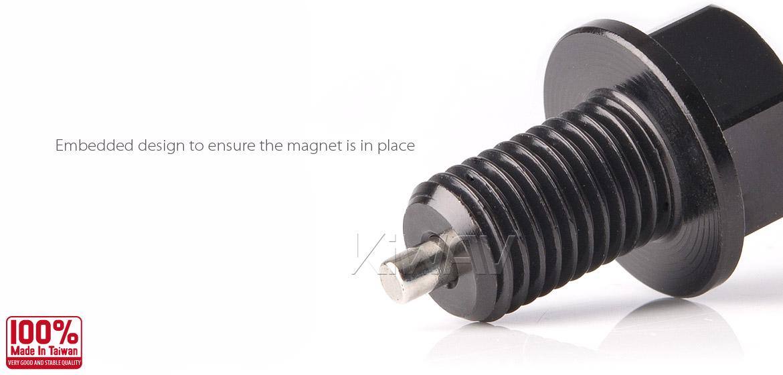 Magazi anodized black aluminum magnetic oil drain bolt plug M10 x P1.25 for road bike Yamaha-02